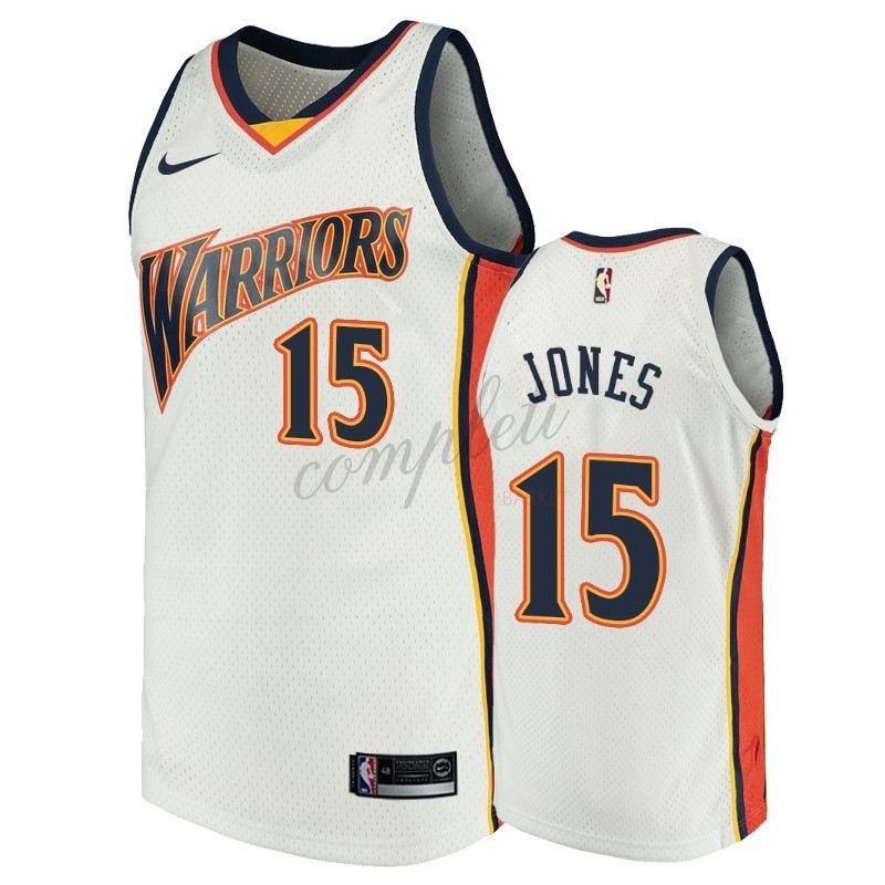 Comprare Maglia NBA Golden State Warriors NO.15 Damian Jones Bianco Throwback