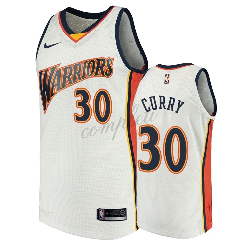 Comprare Maglia NBA Golden State Warriors NO.30 Stephen Curry Bianco Throwback