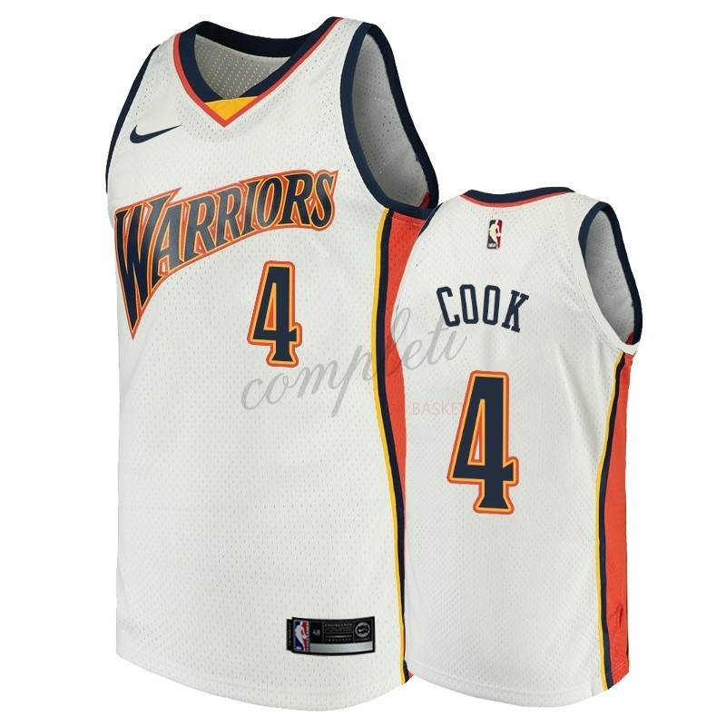 Comprare Maglia NBA Golden State Warriors NO.4 Quinn Cook Bianco Throwback