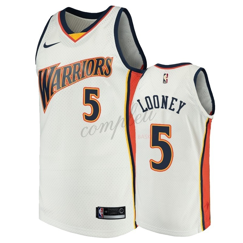 Comprare Maglia NBA Golden State Warriors NO.5 Kevon Looney Bianco Throwback