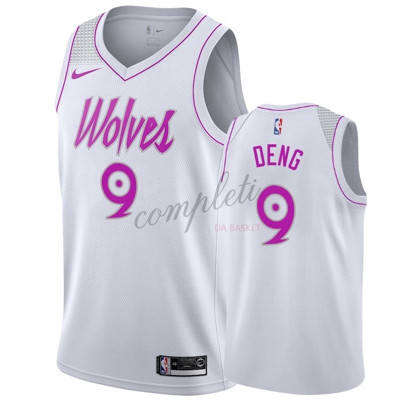 Comprare Maglia NBA Earned Edition Minnesota Timberwolves NO.9 Luol Deng Bianco
