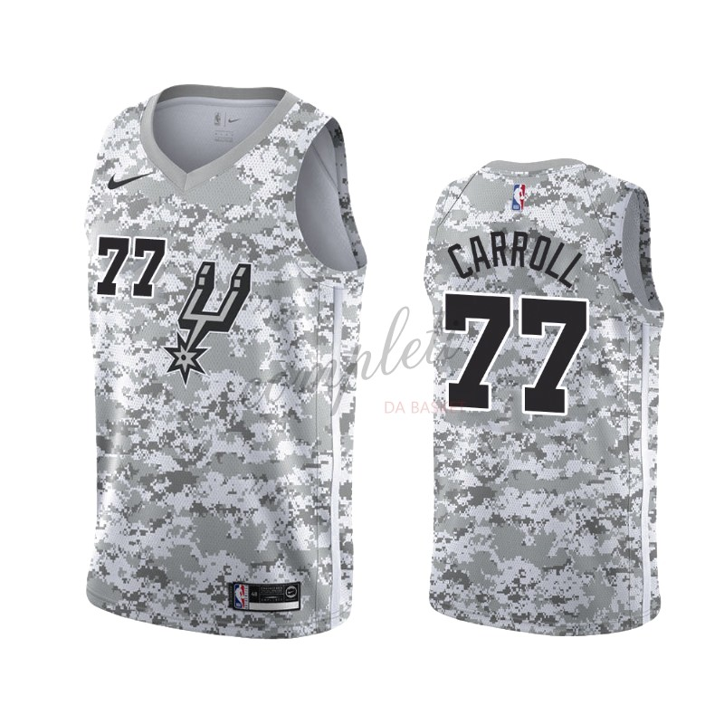 Comprare Maglia NBA Earned Edition San Antonio Spurs NO.77 DeMarre Carroll Gris 2019-20