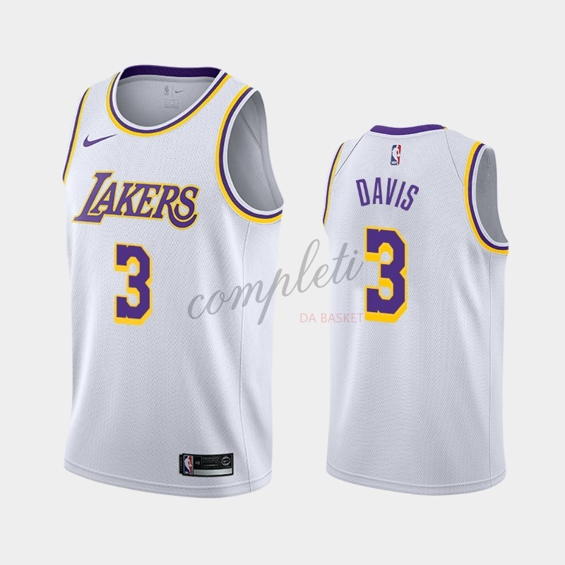 Comprare Maglia NBA Nike Los Angeles Lakers NO.3 Anthony Davis Bianco Association 2019-20