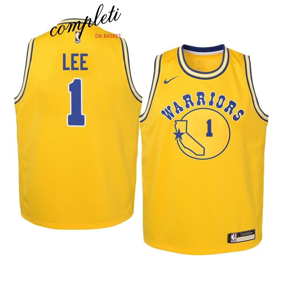 Comprare Maglia NBA Bambino Golden State Warriors NO.1 Damion Lee Oro Hardwood Classics 2019-20