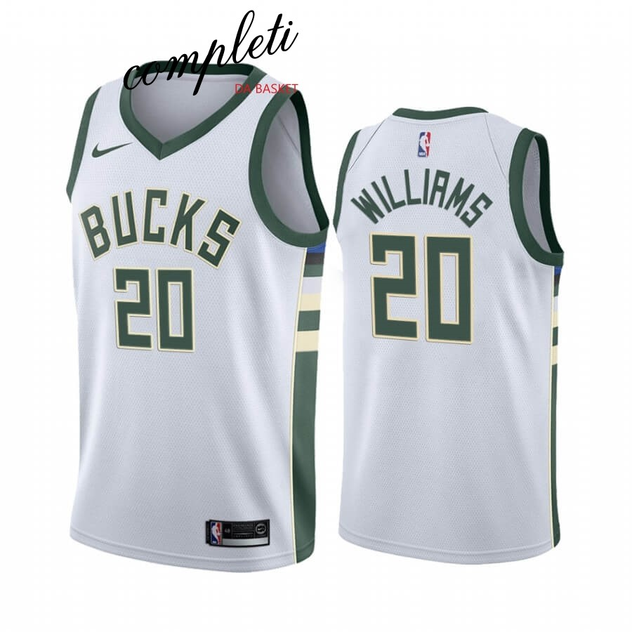 Comprare Maglia NBA Nike Milwaukee Bucks NO.20 Marvin Williams Bianco Association 2019-20