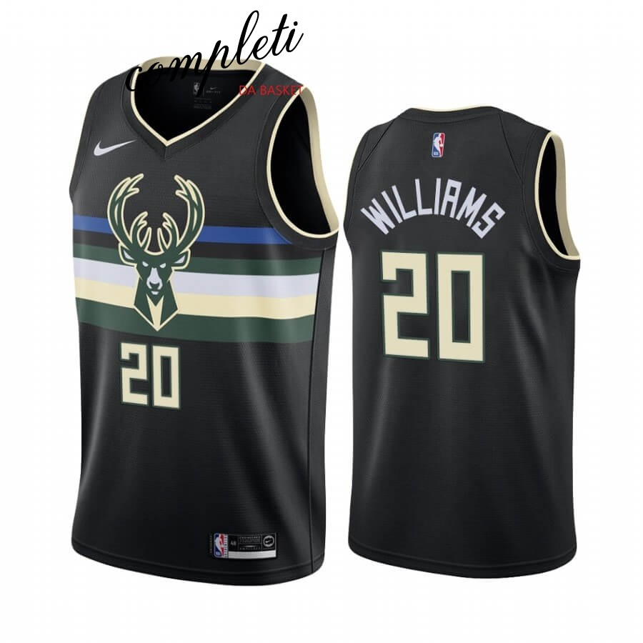 Comprare Maglia NBA Nike Milwaukee Bucks NO.20 Marvin Williams Nero Statement 2019-20