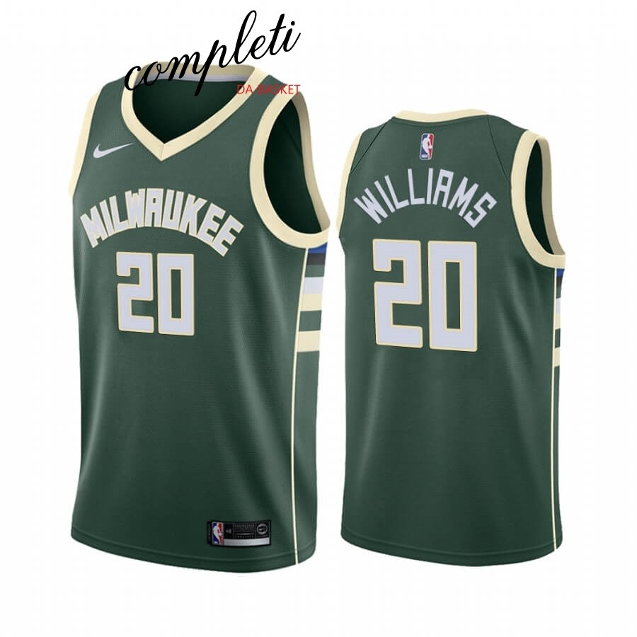 Comprare Maglia NBA Nike Milwaukee Bucks NO.20 Marvin Williams Verde Icon 2019-20