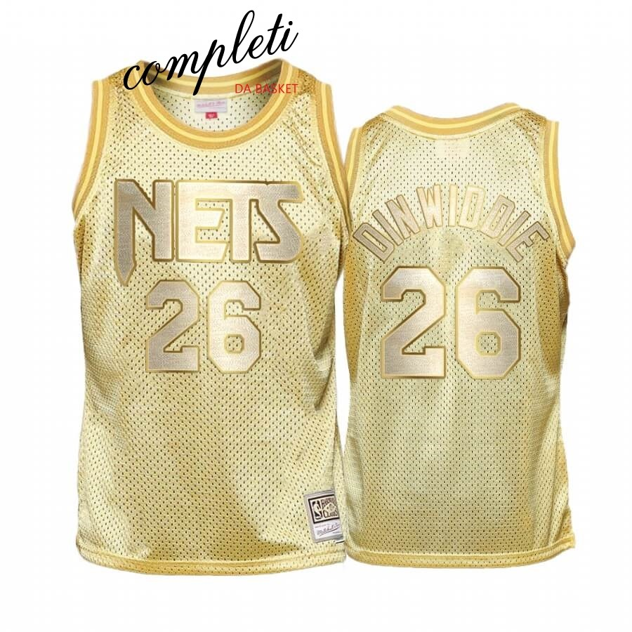 Comprare Maglia NBA Bambino Brooklyn Nets Midas NO.26 Spencer Dinwiddie Oro Hardwood Classics