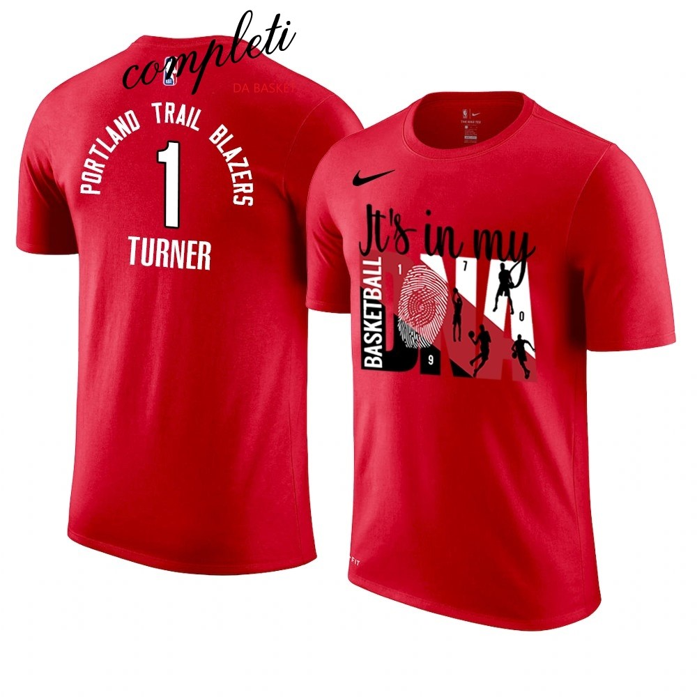 Comprare T Shirt NBA Portland Trail Blazers DNA NO.1 Evan Turner Rosso