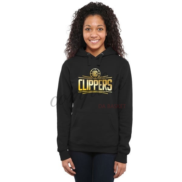 Comprare Felpe Con Cappuccio NBA Donna Los Angeles Clippers Nero Or