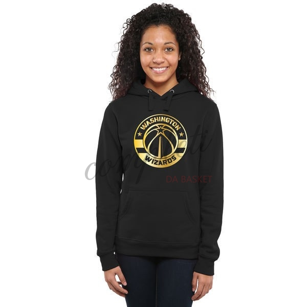 Comprare Felpe Con Cappuccio NBA Donna Washington Wizards Nero Oro