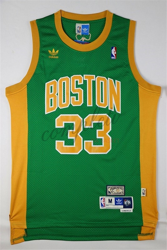 ... Comprare Maglia NBA Boston Celtics No.33 Larry Joe Bird Verde Arancia  ... d131c65a2aab