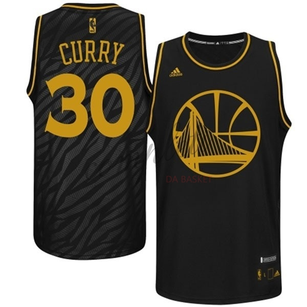 Comprare Maglia NBA Golden State Warriors Moda Metalli Preziosi NO.30 Curry Nero