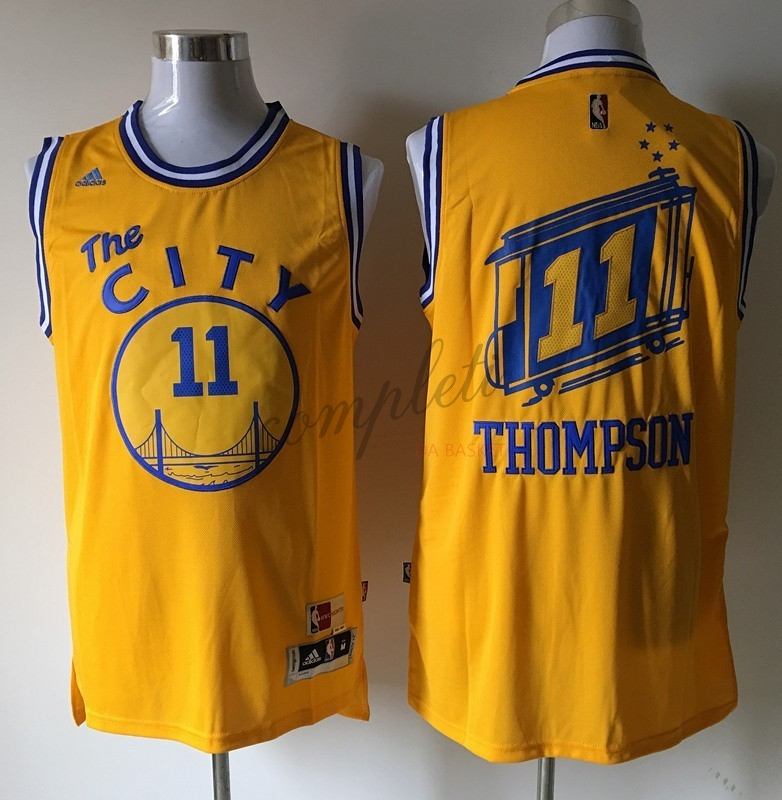 Comprare Maglia NBA Golden State Warriors NO.11 Klay Thompson Giallo