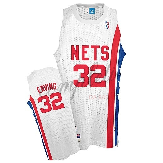 Comprare Maillo ABA Brooklyn Nets NO.32 Erving Bianco