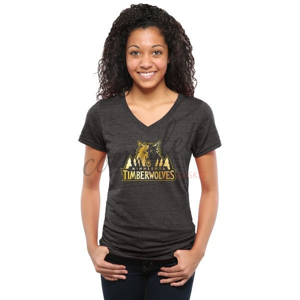 Comprare T-Shirt Donna Minnesota Timberwolves Nero Oro