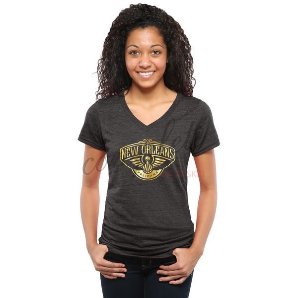 Comprare T-Shirt Donna New Orleans Pelicans Nero Oro